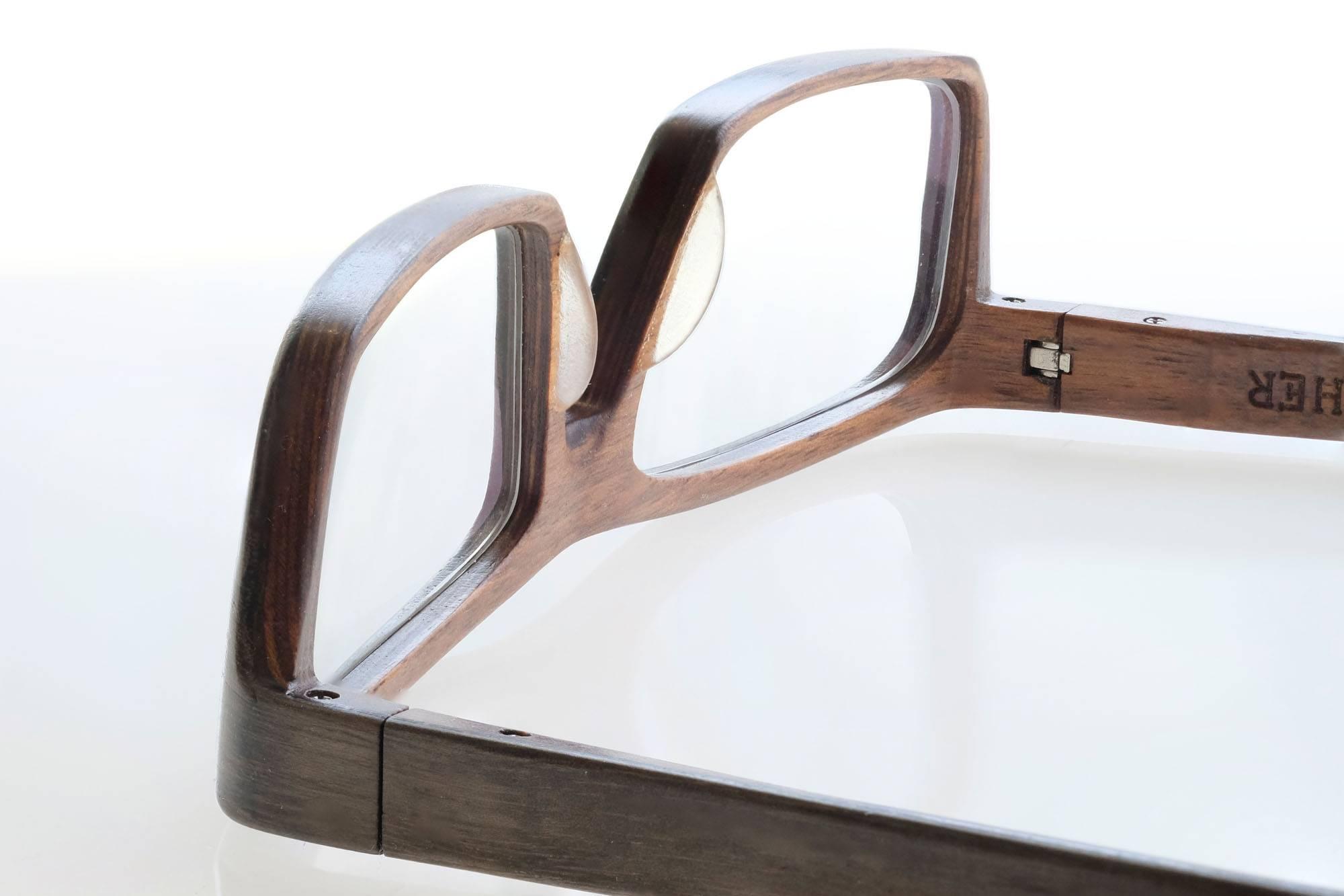 SCHEFFIN! Holzbrille - Brogan in Grauesche und Nussbaum