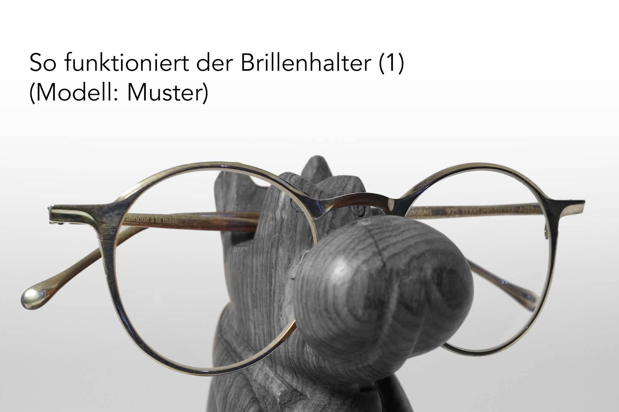 Brillenhalter: So wird die Brille eingehängt (Muster)