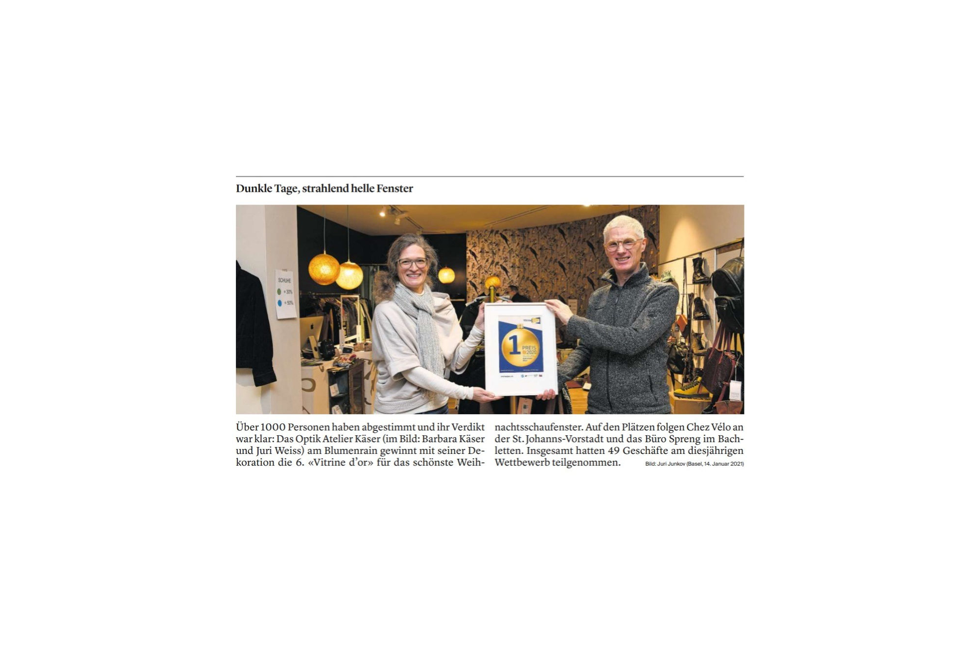 Schaufenster Nr. 074: Vitrine d'Or-Preisverleihung der bz vom 15. Januar 2021